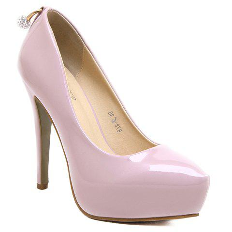 Fashionable Patent Leather and Solid Colour Design Women's Pumps - PINK 38