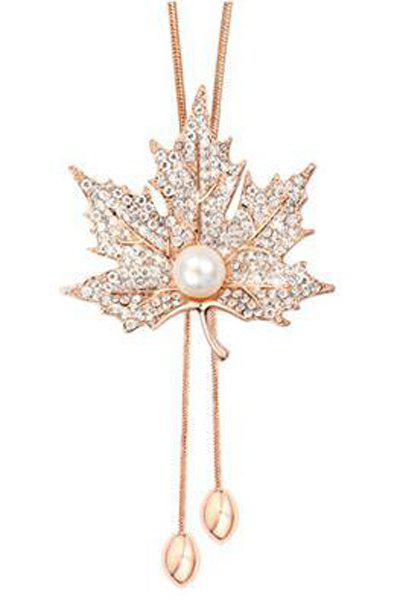 Chic Faux Pearl Rhinestoned Maple Leaf Necklace For Women - ROSE GOLD
