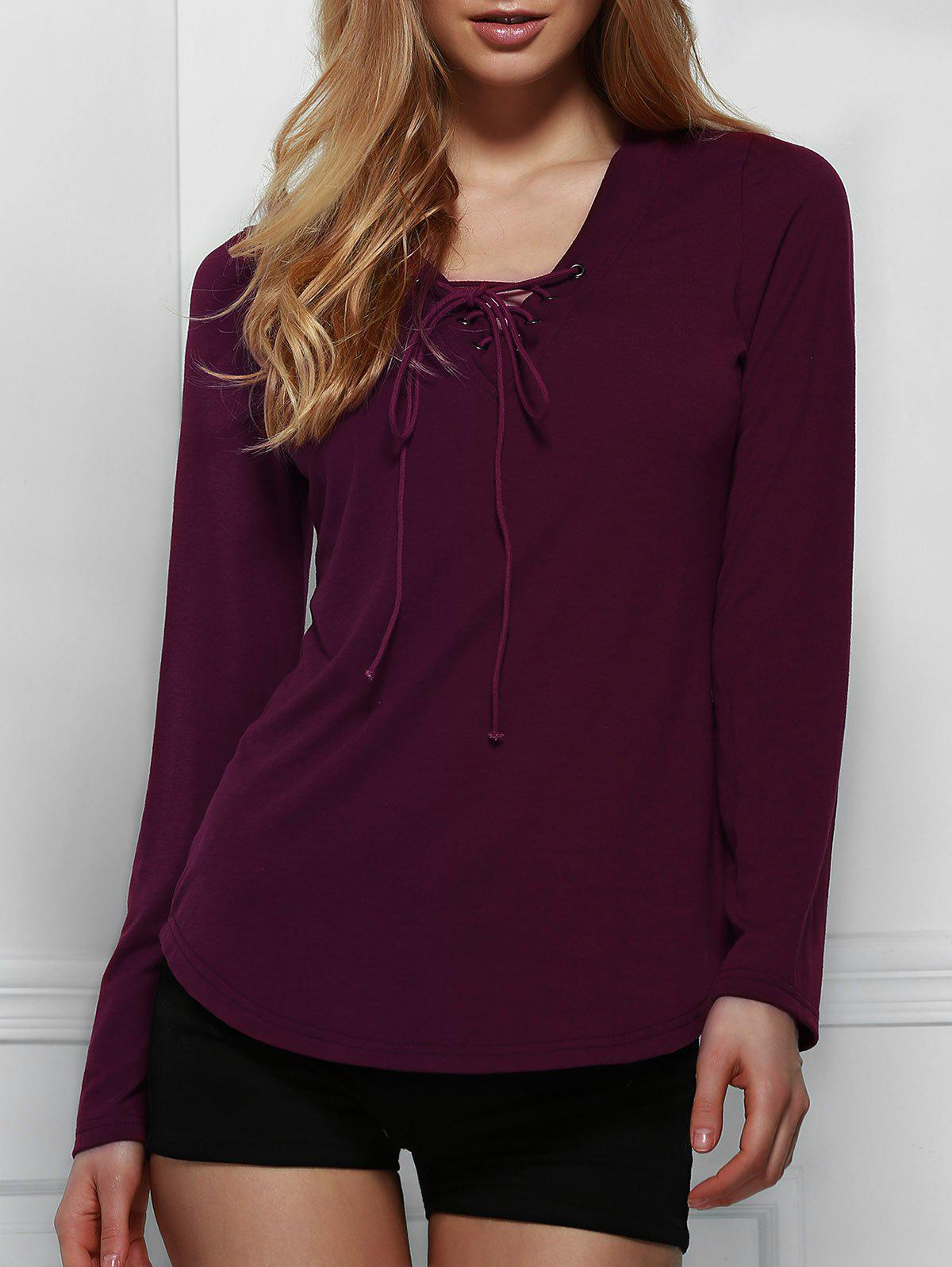 Chic Long Sleeve V Neck Lace-Up Women's T-Shirt - WINE RED S