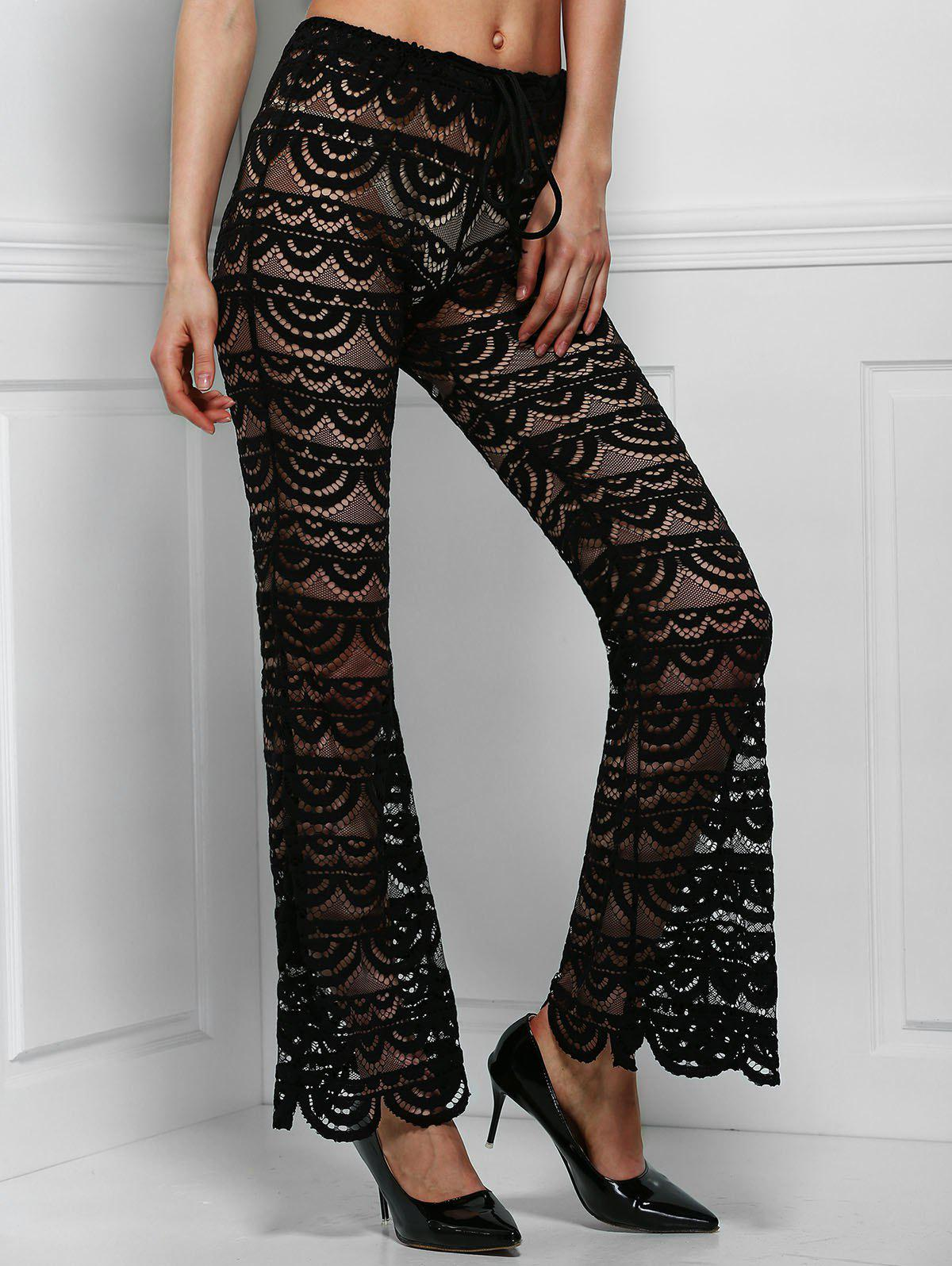 Sexy See-Through Solid Color Women's Lace Pants