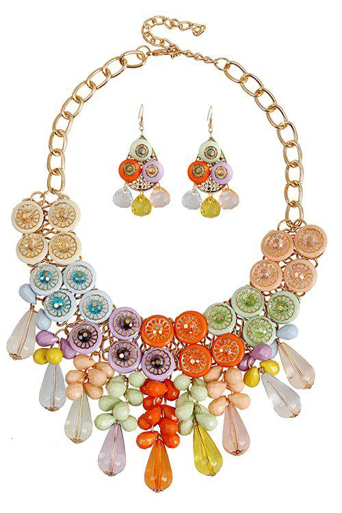 A Suit of Charming Colorful Acrylic Faux Crystal Drop Necklace and Earrings For Women -  COLORMIX