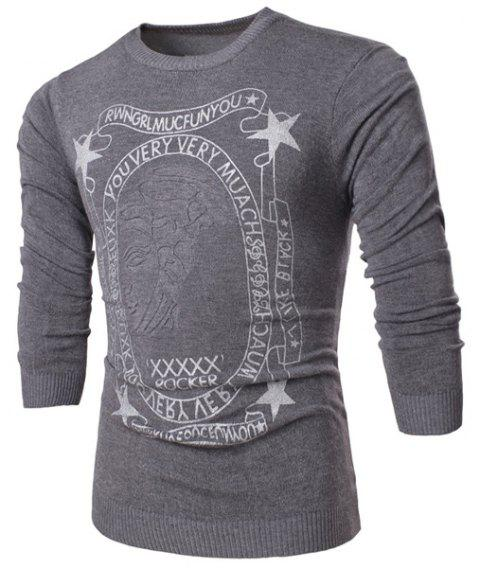 1f7a64af4 Round Neck Star and Letters Print Rose Emboss Long Sleeve Men's Sweater -  GRAY 2XL