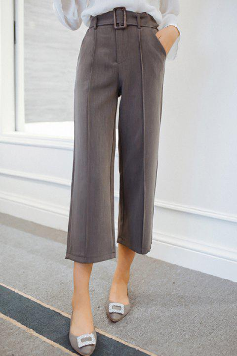 Trendy High-Waisted Loose-Fitting Pure Color Women's Ankle Pants - GRAY L