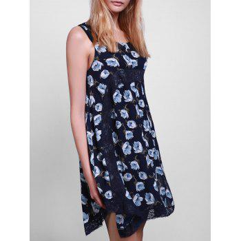Casual Style Scoop Collar Sleeveless Floral Print Lace Splicing Women's Sun Dress - PURPLISH BLUE L