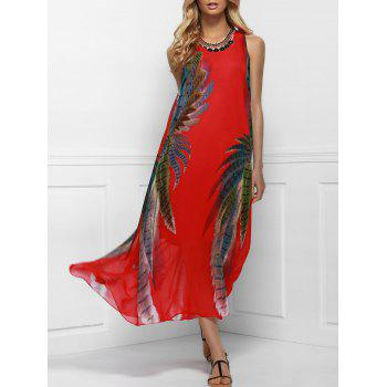 Bohemian Style Red Print Sleeveless Scoop Neck Dress For Women
