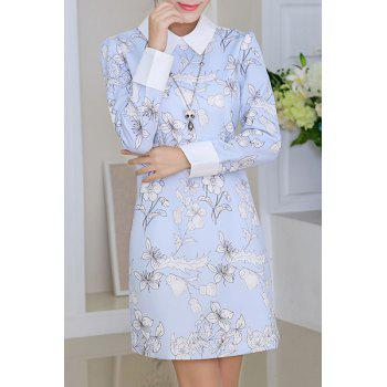 Trendy Long Sleeve Floral Print Dress For Women