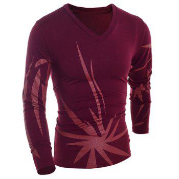 Slimming V-Neck Long Sleeve Geometric Printed Design Men's T-Shirt