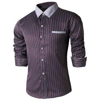 Turn-Down Collar Slimming Long Sleeve Vertical Stripe Edging Button-Down Men's Shirt