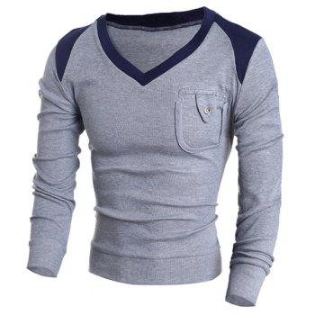 Buy V-Neck Color Block Splicing Pocket Design Long Sleeve Men's Sweater GRAY