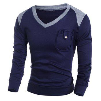 V-Neck Color Block Splicing Pocket Design Long Sleeve Men's Sweater