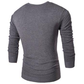 Round Neck Star and Letters Print Rose Emboss Long Sleeve Men's Sweater - GRAY M