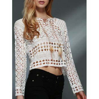 Stylish Round Neck Long Sleeve Lace-Up Hollow Out Women's Blouse