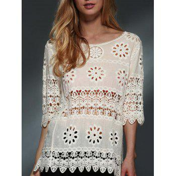 Stylish Scoop Neck 3/4 Sleeve Hollow Out Crochet Women's Blouse