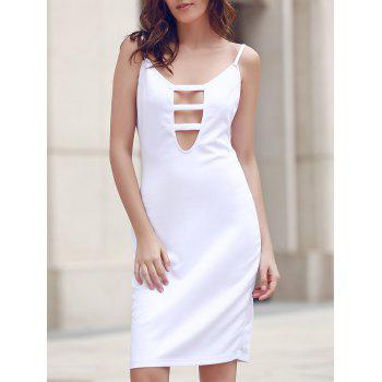Spaghetti Strap Hollow Out White Dress