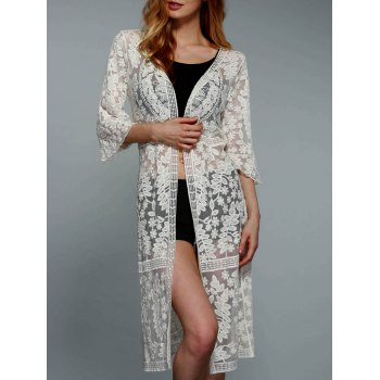 Stylish 3/4 Sleeve Solid Color Crochet Women's Cover-Up