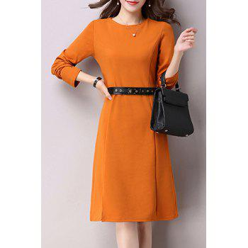 Trendy Long Sleeve Shirt Collar Denim Dress For Women