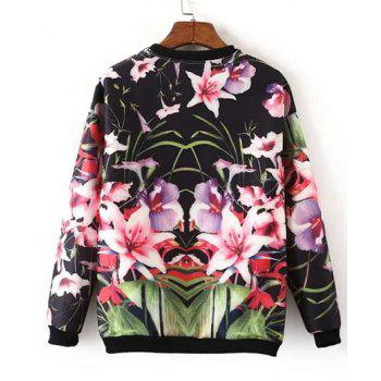 Sweet Long Sleeve Round Collar Floral Print Women's Sweatshirt - COLORMIX S