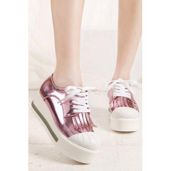 Casual Fringe and Lace-Up Design Platform Shoes For Women - PINK 39
