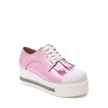 Casual Fringe and Lace-Up Design Platform Shoes For Women - PINK PINK