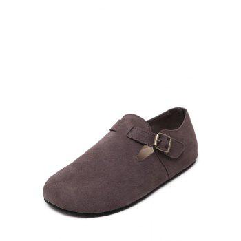 Simple Buckle and Dark Color Design Flat Shoes For Women - COFFEE 36