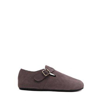 Simple Buckle and Dark Color Design Flat Shoes For Women