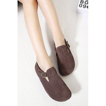 Simple Buckle and Dark Color Design Flat Shoes For Women - 36 36