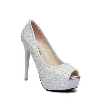 Party Lace and Platform Design Peep Toe Shoes For Women