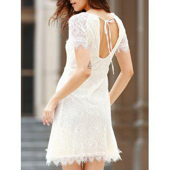 Chic Short Sleeve Scoop Neck Cut Out Women's Lace Dress