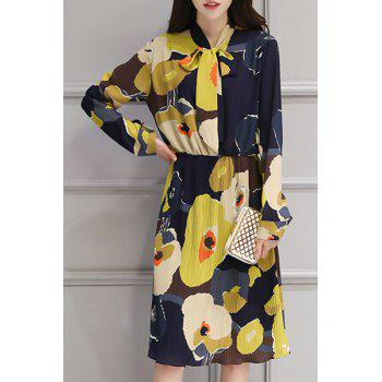 Trendy  Bow Collar Long Sleeve Chiffon Floral Print Dress For Women