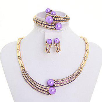 A Suit of Faux Pearl Necklace Bracelet Earrings and Ring For Women