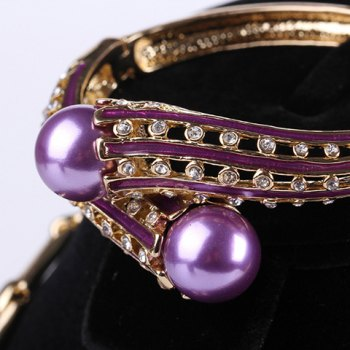 A Suit of Faux Pearl Necklace Bracelet Earrings and Ring For Women - PURPLE ONE-SIZE