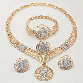 A Suit of Round Rhinestone Necklace Bracelet Earrings and Ring