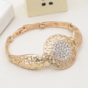 A Suit of Round Rhinestone Necklace Bracelet Earrings and Ring - GOLDEN ONE-SIZE