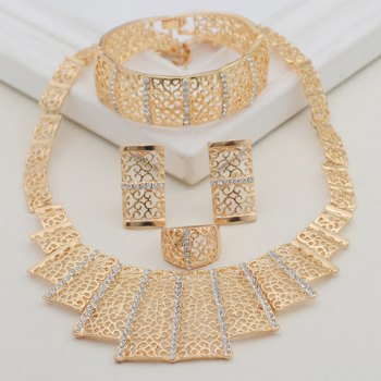 A Suit of Alloy Filagree Rectangle Jewelry Set