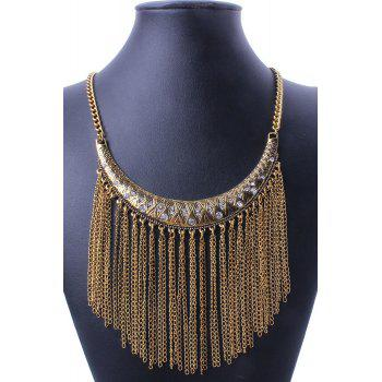 Retro Ethnic Crescent Link Chain Tassel Necklace For Women