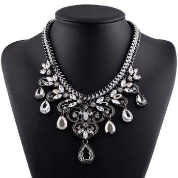 Delicate Exaggerated Faux Crystal Water Drop Hollow Out Necklace For Women