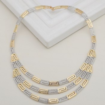 A Suit of Hollow Out Multilayered Necklace Bracelet Ring and Earrings - SILVER/GOLDEN ONE-SIZE