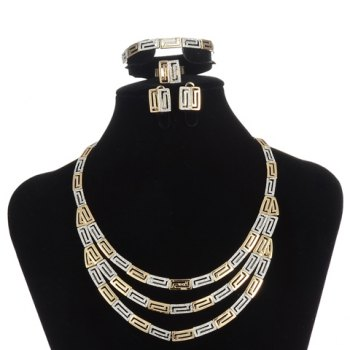A Suit of Hollow Out Multilayered Necklace Bracelet Ring and Earrings