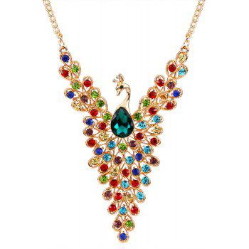 Statement Rhinestoned Peacock Necklace