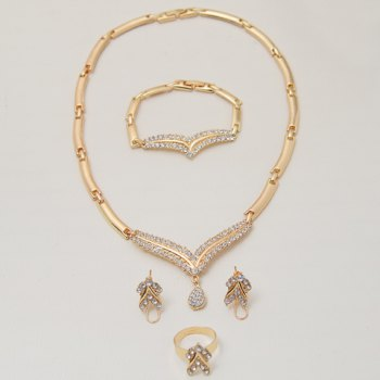 A Suit of Rhinestone Necklace Bracelet Ring and Earrings - GOLDEN ONE-SIZE