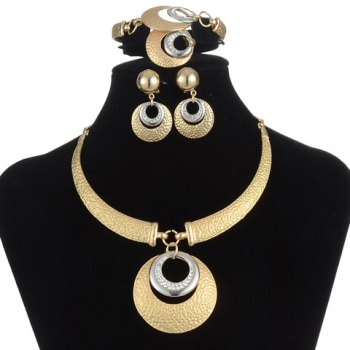 A Suit of Alloy Rhinestone Hollow Out Necklace Bracelet Ring and Earrings