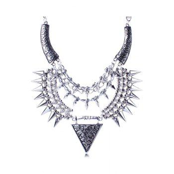 Punk Carving Triangle Rivet Necklace For Women