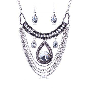 A Suit of Noble Multi-Layered Faux Crystal Water Drop Necklace and Earrings For Women