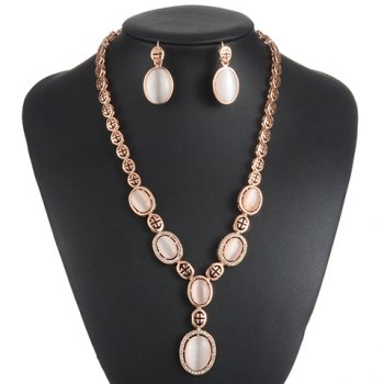 A Suit of Charming Faux Opal Oval Necklace and Earrings For Women