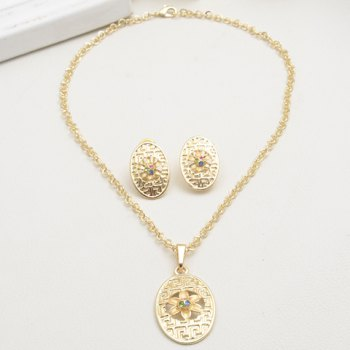 A Suit of Floral Rhinestone Oval Necklace and Earrings - GOLDEN