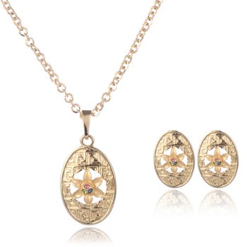 A Suit of Floral Rhinestone Oval Necklace and Earrings