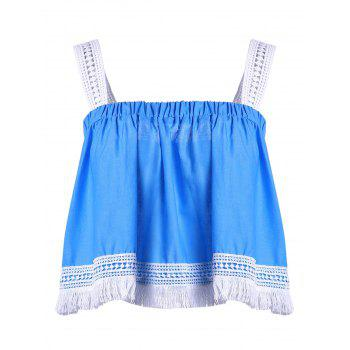 Trendy Spaghetti Strap Lace Tassles Crop Top For Women - BLUE AND WHITE S