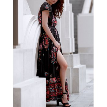 Bohemian Plunging Neck Short Sleeve Floral Print Maxi Dress - BLACK BLACK