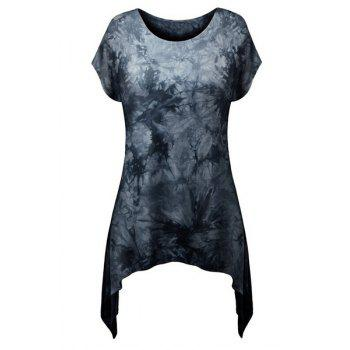 Stylish Round Neck Short Sleeve Printed Asymmetrical Women's T-Shirt