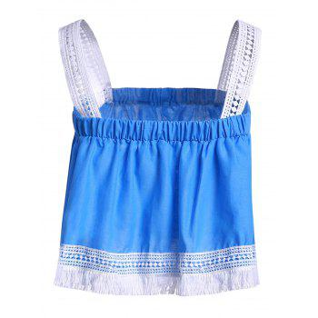 Trendy Spaghetti Strap Lace Tassles Crop Top For Women - BLUE/WHITE M